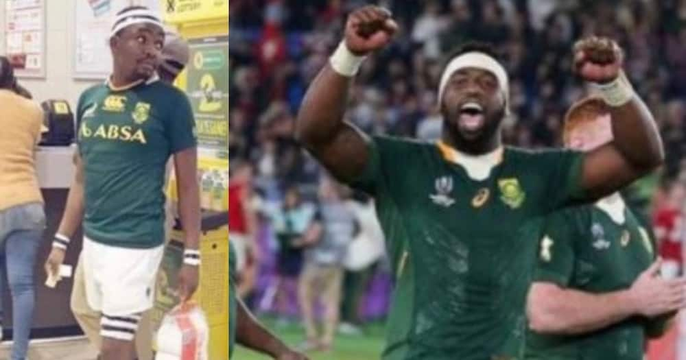 Siya Kolisi shares side-by-side pics of himself and super fan, SA can't deal
