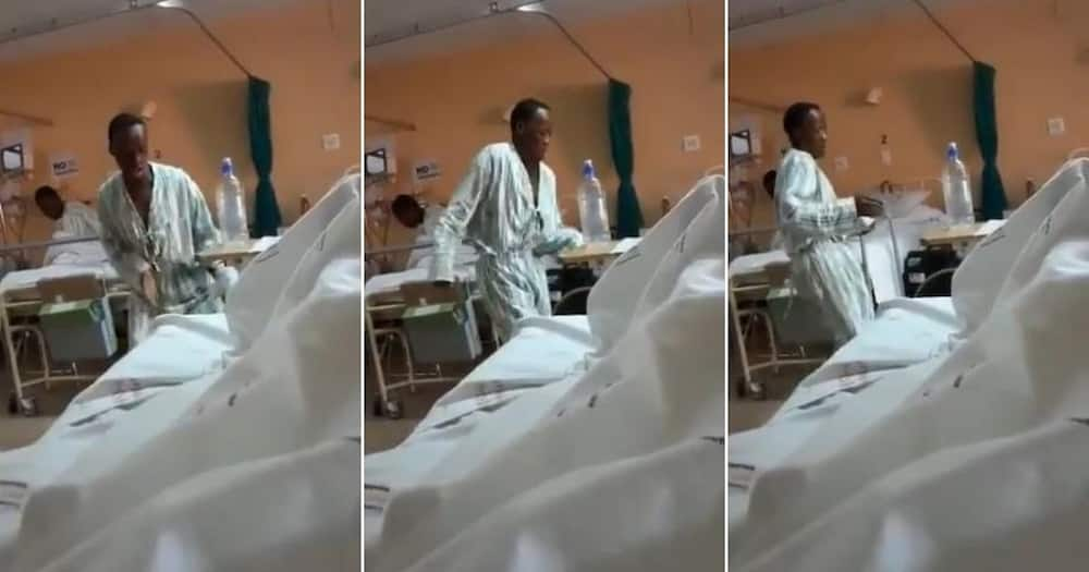 Video shows patient busting a move in hospital ward, Mzansi reacts