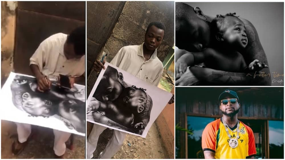 Nigerian artist draws Davido's A Better Time album cover, hopes the artist will see it