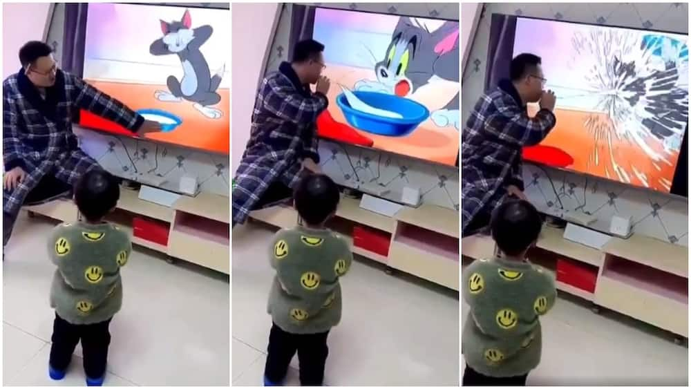 Lovely father makes son laugh hard as he pretends as if he's stealing cartoon character's food in viral video
