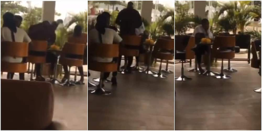 Video shows man collecting bone straight hair & slippers he bought for bae after she was seen with another man