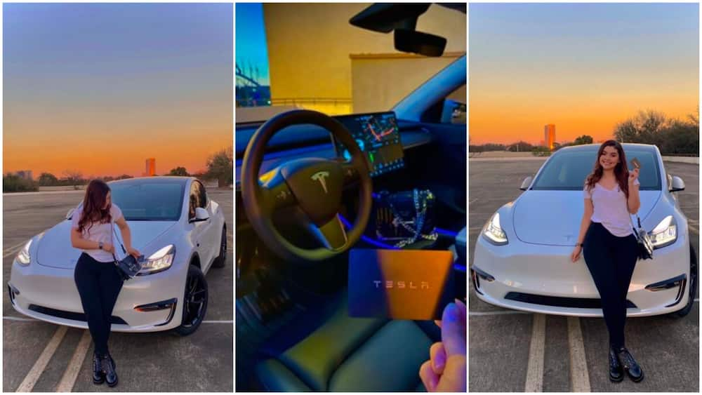 I worked hard for this: Lady shows off her new N23.2m Tesla car, blast those who asked where she got money