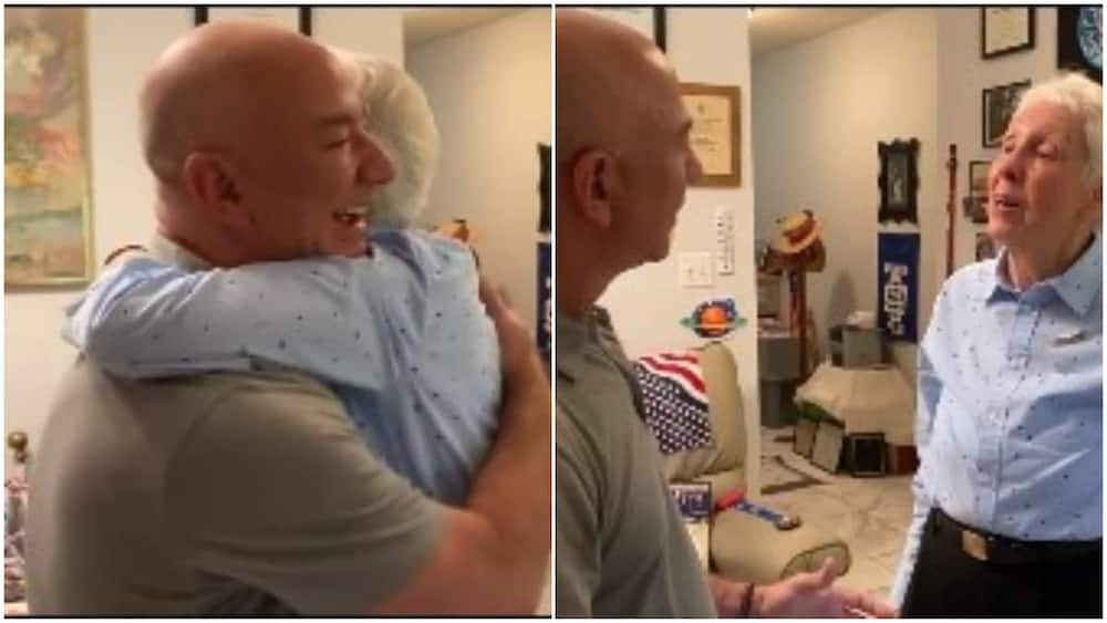 Photos showed the moment Wally hugged him.