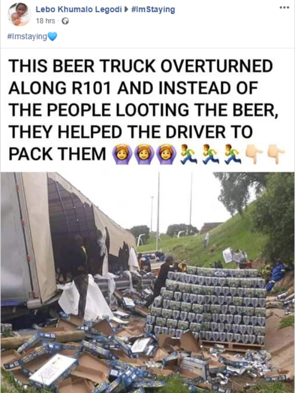 """SA in disbelief as overturned truck not looted: """"It was 0% alcohol"""""""