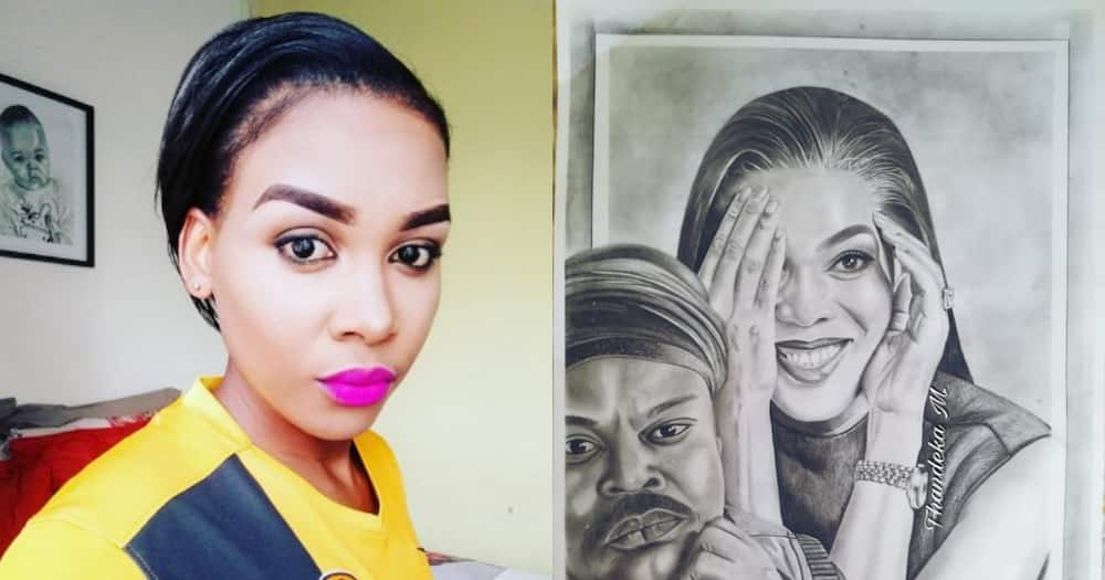 """Talented Young SA Lady Draws Rasta and """"Fixes"""" One of His Paintings"""