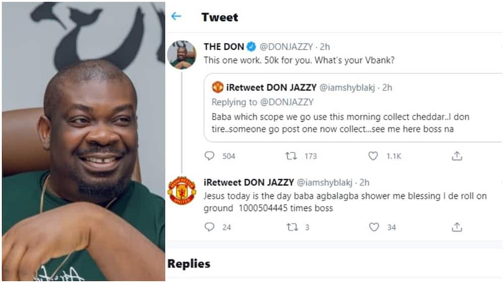 Early June blessing: Don Jazzy sends N50k to Twitter follower shortly the person begged for money