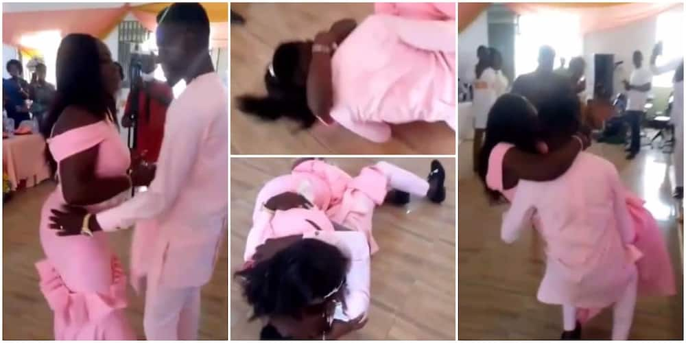 Lady gives man kiss after they fell awkwardly when he tried lifting her up in cute video