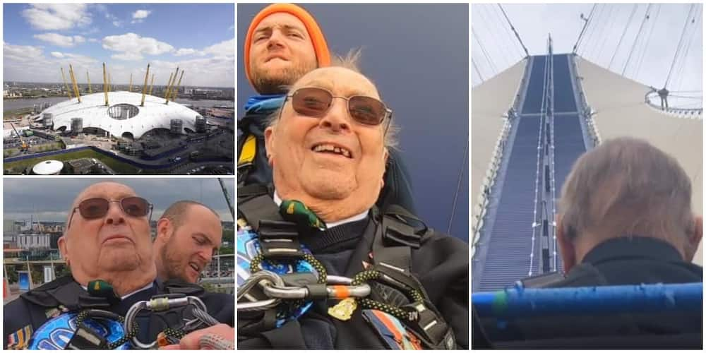 100-year-old man marks birthday by climbing roof of 02 arena in wheelchair, video goes viral