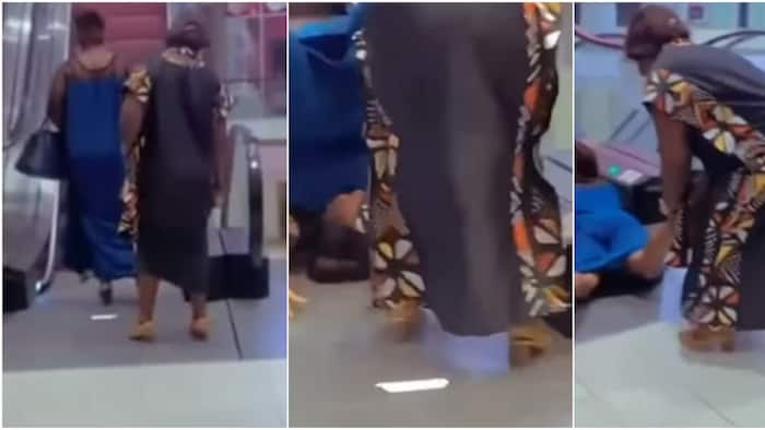 Moment woman embarrassingly falls and somersaults after stepping on escalator captured on camera