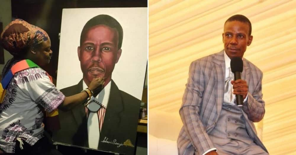 Rasta paints portrait of Prophet Mboro and Mzansi hilariously reacts