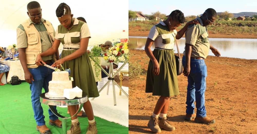 Mzansi couple wear khaki clothes on wedding day
