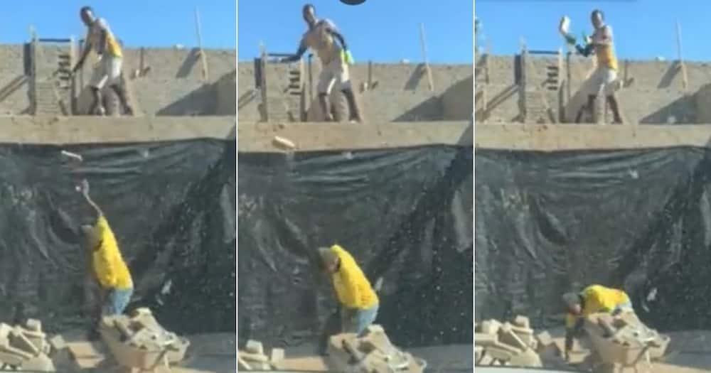 construction working, builders, throwing bricks