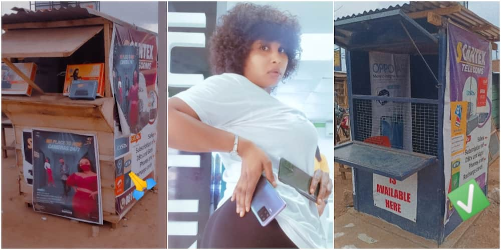 Nigerian lady inspires social media users as she shares before and after photos of her kiosk