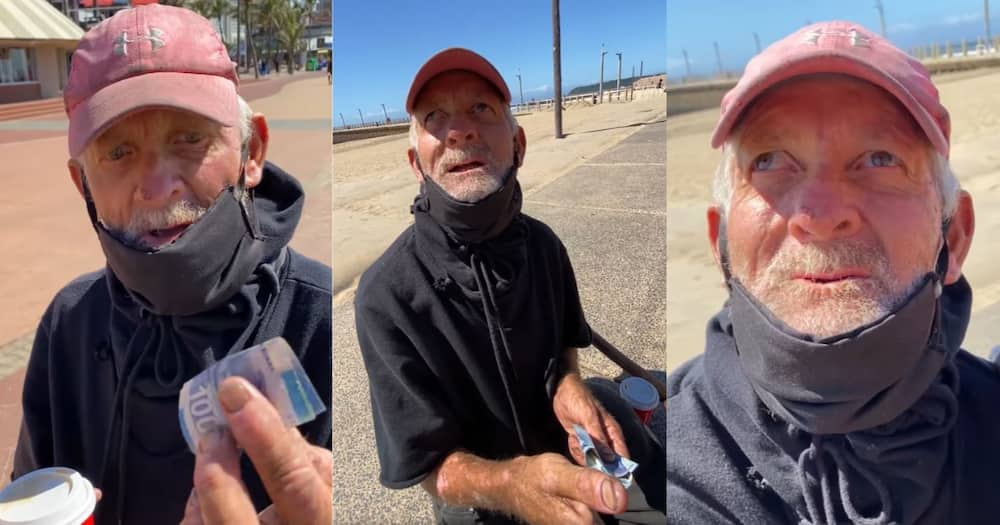 Bi Phakathi helps homeless man chasing torn R10 note, blesses him with over R1k