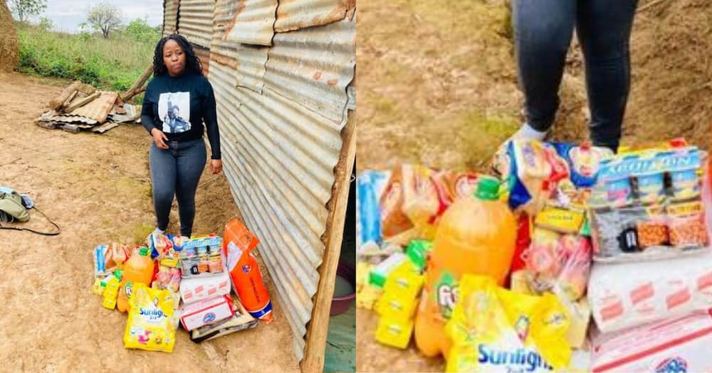 Woman buys groceries for less fortunate people