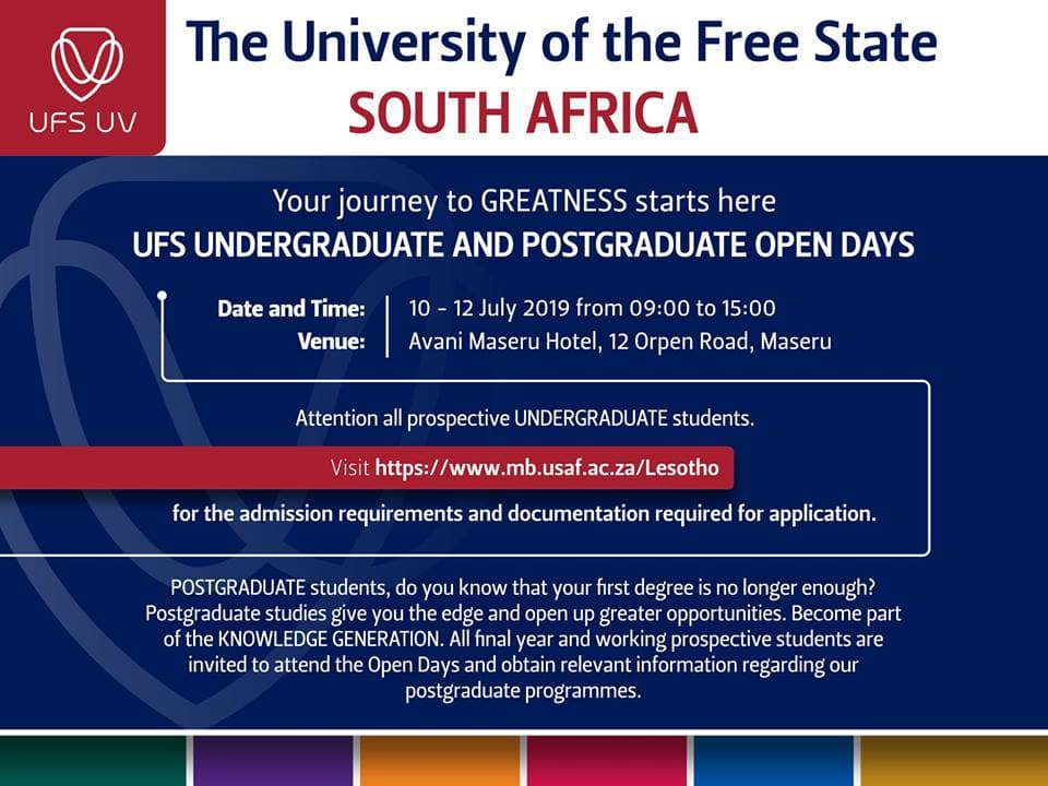 Free State University courses, fees, dates, and requirements