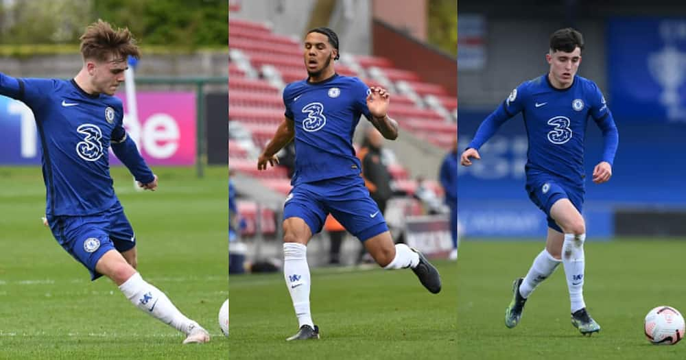 Chelsea academy graduates Valentino Livramento, Lewis Bate, and Myles Peart-Harris. Photos by Mike Hewitt and Clive Howes.