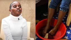 Handicapped woman who can't use her hands uses feet instead, 4 year old son helps her