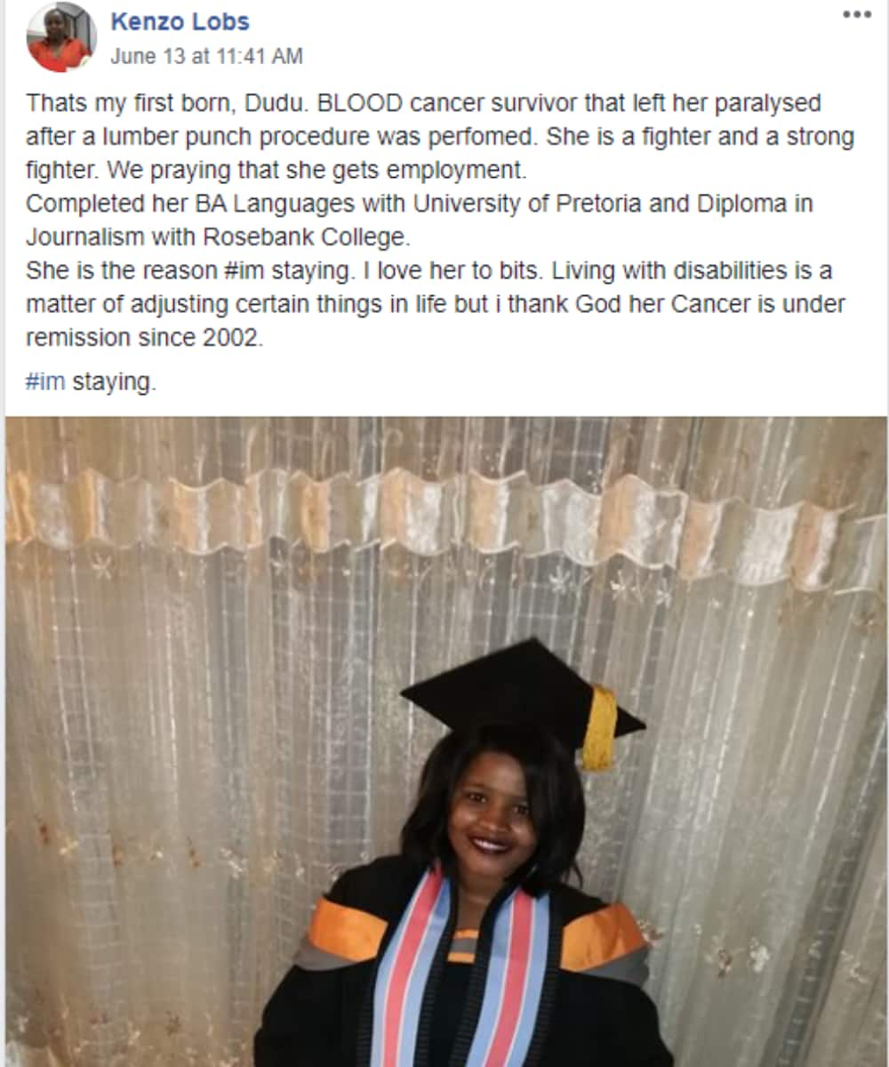 SA inspired by lady who beat cancer and graduated with degree