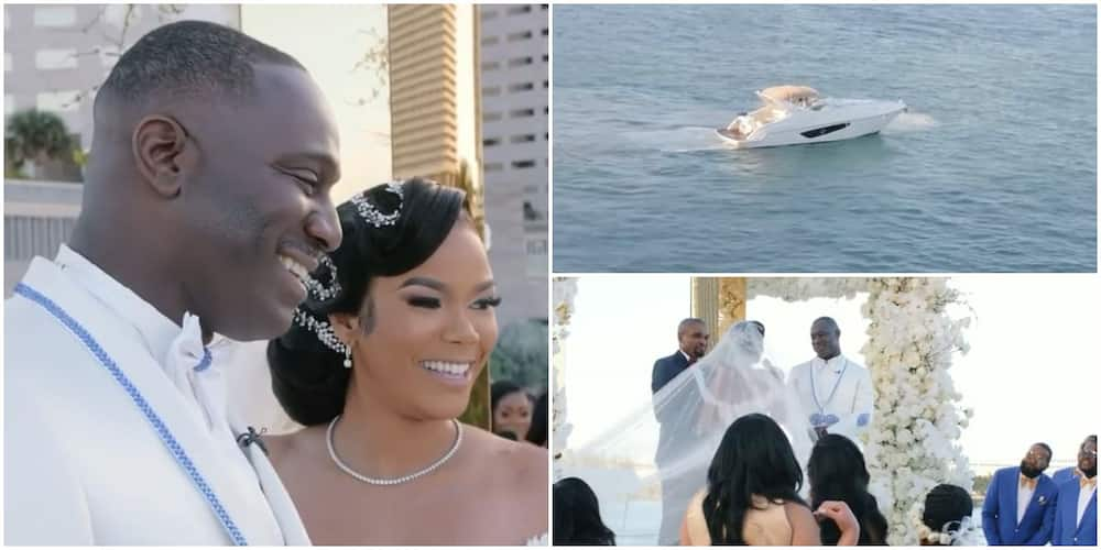 Sweet moment beautiful bride gave hubby a yacht as gift on their wedding day in Miami