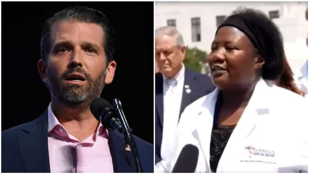 A collage of Trump Jr and the black doctor. Photos sources: BBC/The Cable