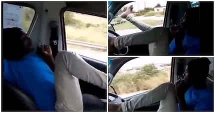 Video of man driving using his feet takes social media by surprise