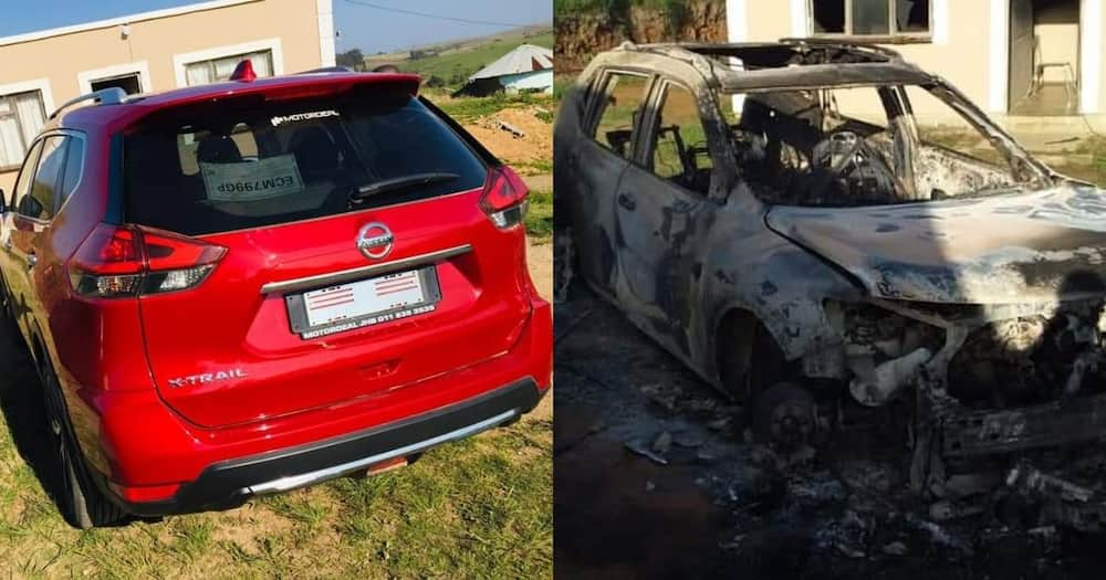 Mzansi in disbelief after new whip gets burnt down
