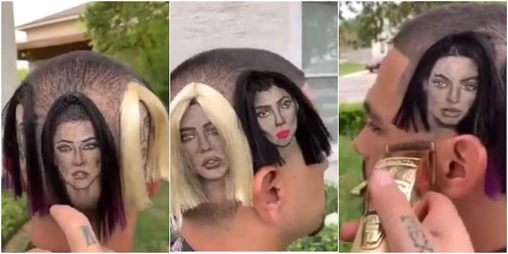 Barber lights up social media with hairstyle with many female faces, it's creativity at its best