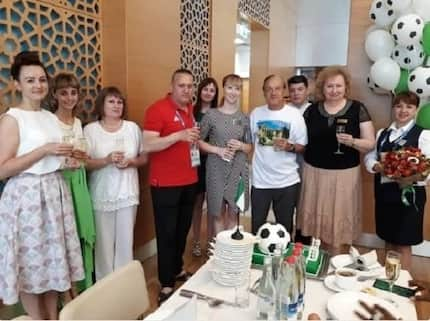 Nigeria's head coach Gernot Rohr gets surprise birthday cake in Russia
